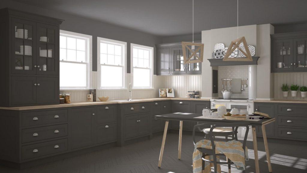 Une cuisine en parquet gris pour un style scandinave