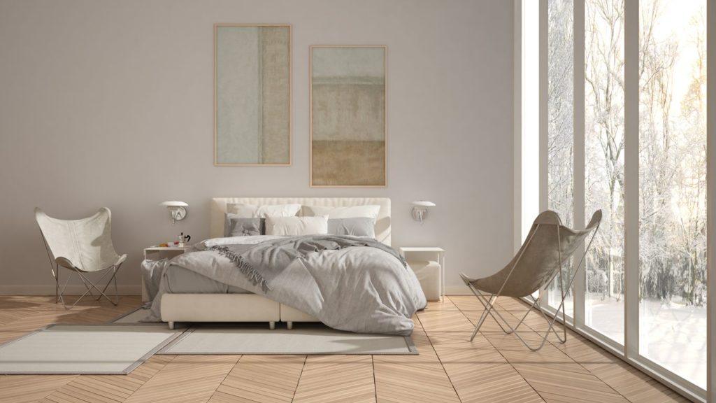Chambre avec parquet fougère
