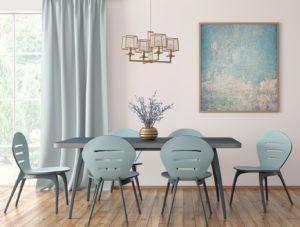 Salle à manger avec parquet stratifié et lames PVC