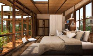 Chambre à coucher où a été effectuée une pose de parquet en chêne massif